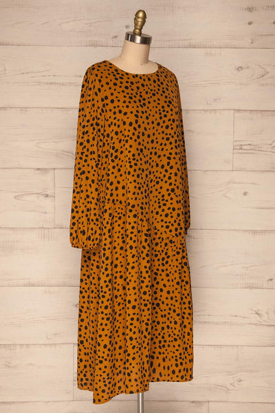 Cajoncito Ochre & Black Polkadot Tunic Dress | SIDE VIEW  | La Petite Garçonne