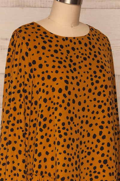 Cajoncito Ochre & Black Polkadot Tunic Dress |  SIDE CLOSE UP  | La Petite Garçonne