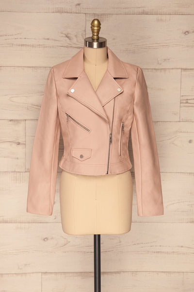 Calcali Rosa Dusty Pink Leather Motorcycle Jacket | La Petite Garçonne front view open