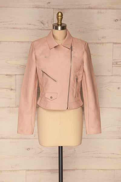 Calcali Rosa Dusty Pink Leather Motorcycle Jacket | La Petite Garçonne front view