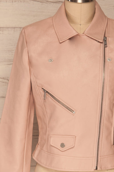 Calcali Rosa Dusty Pink Leather Motorcycle Jacket | La Petite Garçonne front close up
