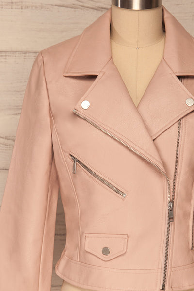 Calcali Rosa Dusty Pink Leather Motorcycle Jacket | La Petite Garçonne front close up open