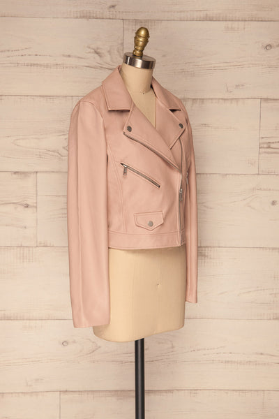 Calcali Rosa Dusty Pink Leather Motorcycle Jacket | La Petite Garçonne side view