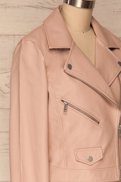 Calcali Rosa Dusty Pink Leather Motorcycle Jacket | La Petite Garçonne side close up