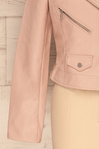 Calcali Rosa Dusty Pink Leather Motorcycle Jacket | La Petite Garçonne bottom close up
