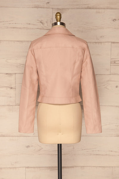 Calcali Rosa Dusty Pink Leather Motorcycle Jacket | La Petite Garçonne back view