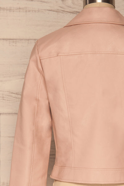 Calcali Rosa Dusty Pink Leather Motorcycle Jacket | La Petite Garçonne back close up