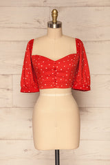 Calceta Red & White Heart Patterned Crop Top | La Petite Garçonne 3