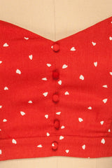Calceta Red & White Heart Patterned Crop Top | La Petite Garçonne 8