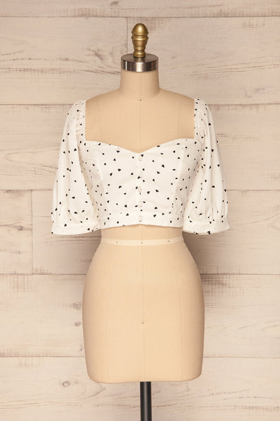 Calceta White & Black Heart Patterned Crop Top | La Petite Garçonne 1