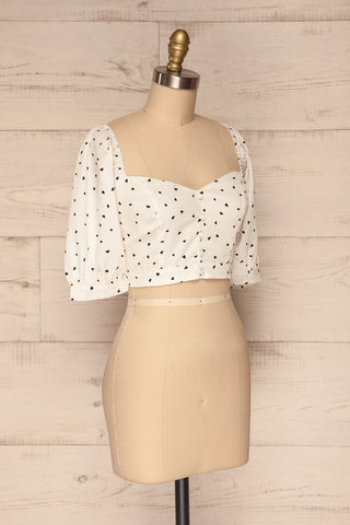Calceta White & Black Heart Patterned Crop Top | La Petite Garçonne 3