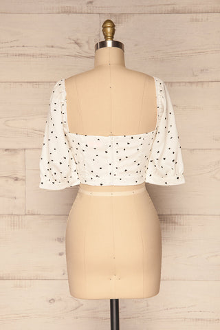 Calceta White & Black Heart Patterned Crop Top | La Petite Garçonne 5
