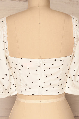 Calceta White & Black Heart Patterned Crop Top | La Petite Garçonne 6