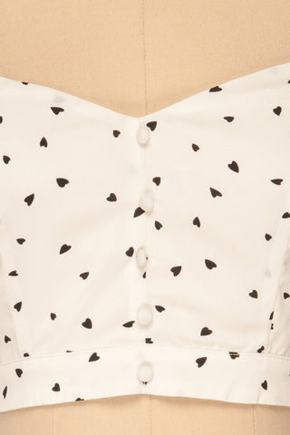 Calceta White & Black Heart Patterned Crop Top | La Petite Garçonne 8