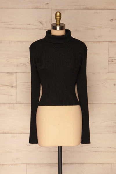 Calcitante Black Long Sleeve Turtleneck Top | La petite garçonne front view