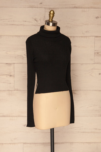 Calcitante Black Long Sleeve Turtleneck Top | La petite garçonne side view