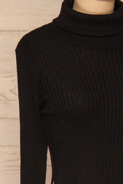 Calcitante Black Long Sleeve Turtleneck Top | La petite garçonne side close-up