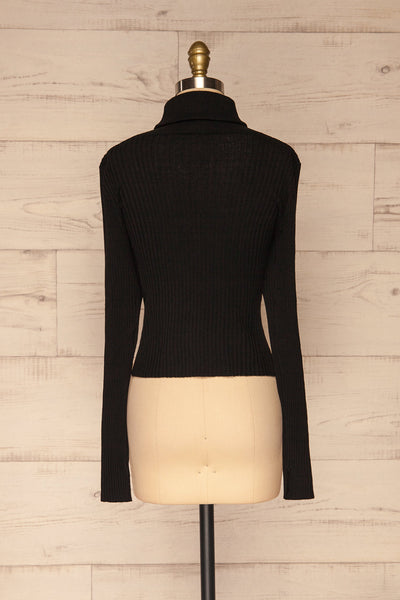 Calcitante Black Long Sleeve Turtleneck Top | La petite garçonne back view