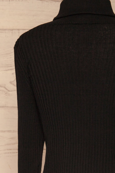 Calcitante Black Long Sleeve Turtleneck Top | La petite garçonne back close-up