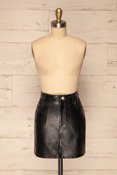 Callancay Black Faux Leather Mini Skirt front view | La Petite Garçonne