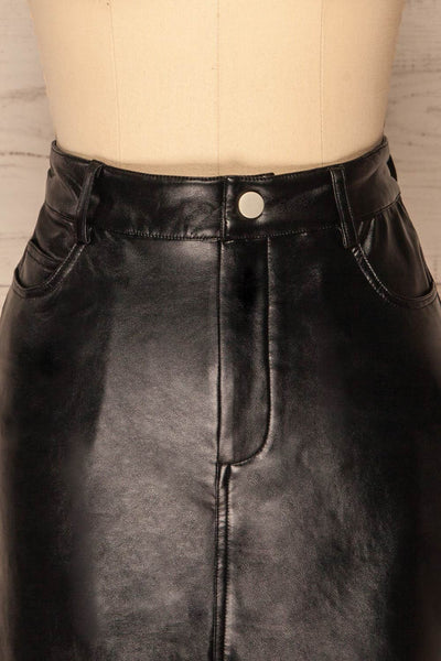 Callancay Black Faux Leather Mini Skirt front close up | La Petite Garçonne