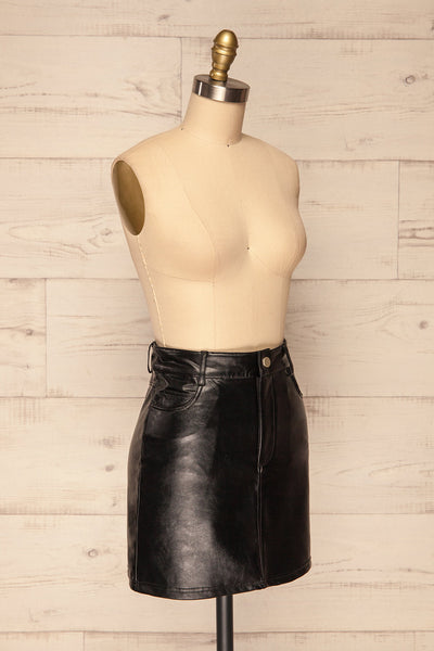 Callancay Black Faux Leather Mini Skirt side view | La Petite Garçonne