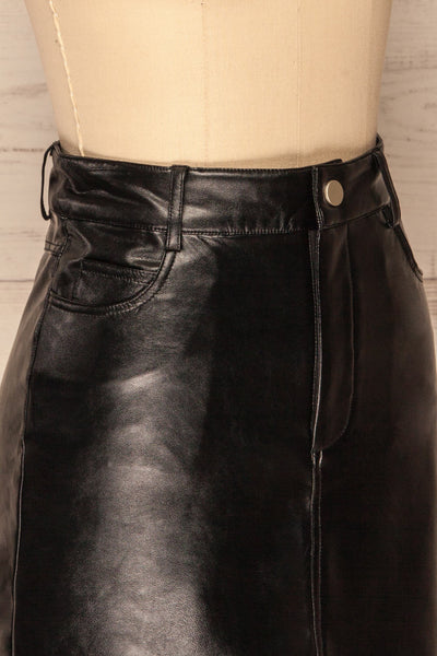 Callancay Black Faux Leather Mini Skirt side close up | La Petite Garçonne
