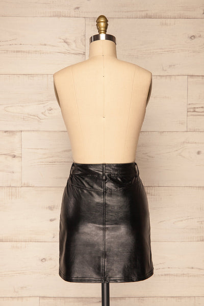 Callancay Black Faux Leather Mini Skirt back view | La Petite Garçonne