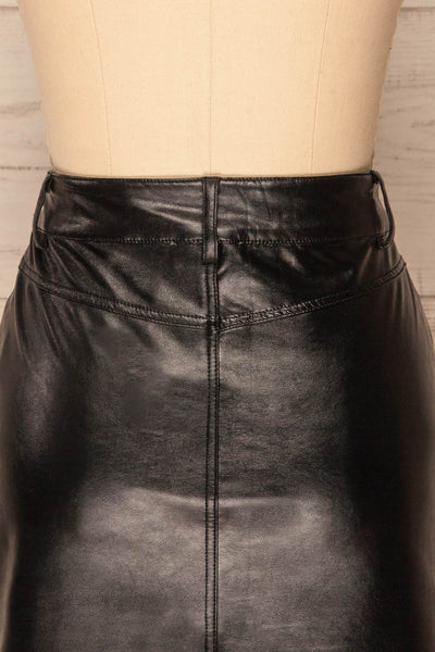 Callancay Black Faux Leather Mini Skirt back close up | La Petite Garçonne