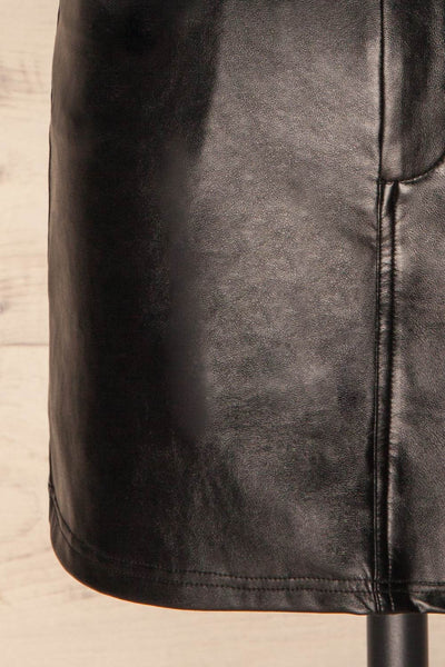 Callancay Black Faux Leather Mini Skirt bottom close up | La Petite Garçonne