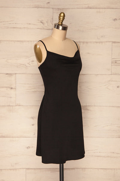Calupina Black Cocktail Dress with Cowl Neck | La Petite Garçonne side view