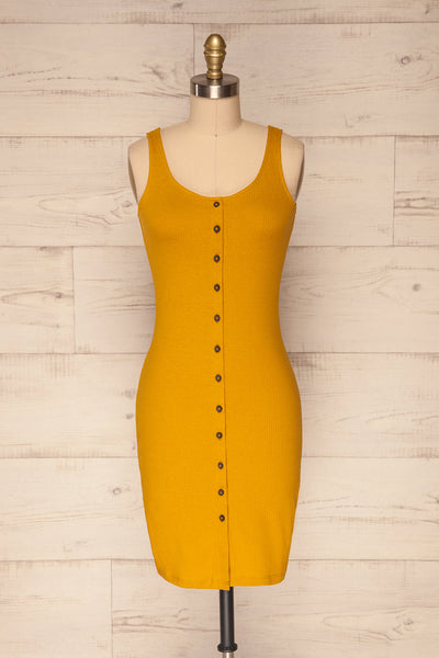 Cambana Curcuma Ochre Fitted Button-Up Dress | La Petite Garçonne