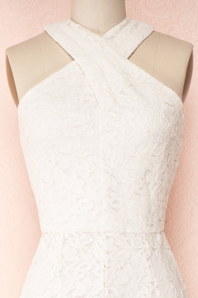 Camela White Floral Lace Jumpsuit | Boudoir 1861 front close-up
