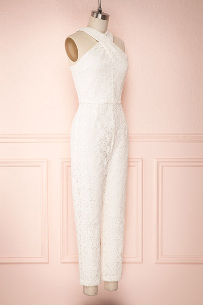 Camela White Floral Lace Jumpsuit | Boudoir 1861 side view