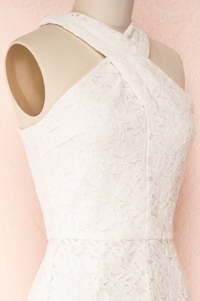 Camela White Floral Lace Jumpsuit | Boudoir 1861 side close-up