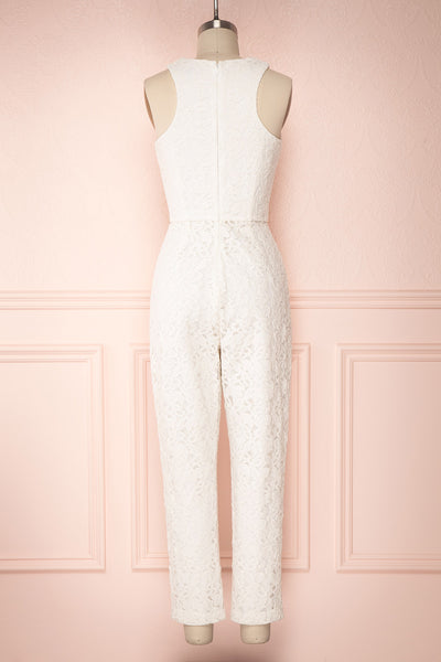 Camela White Floral Lace Jumpsuit | Boudoir 1861 back view