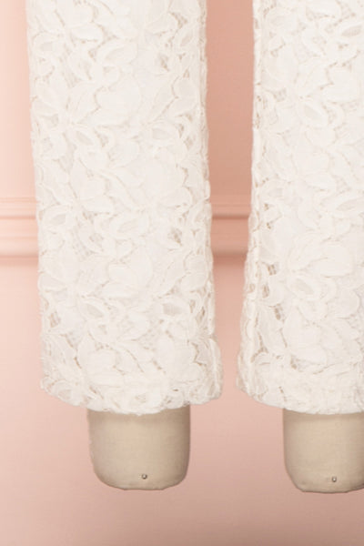 Camela White Floral Lace Jumpsuit | Boudoir 1861 bottom close-up