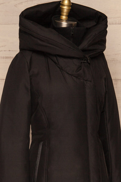 Camelia Black Quilted Soia&Kyo Parka with Hood side close up | La Petite Garçonne