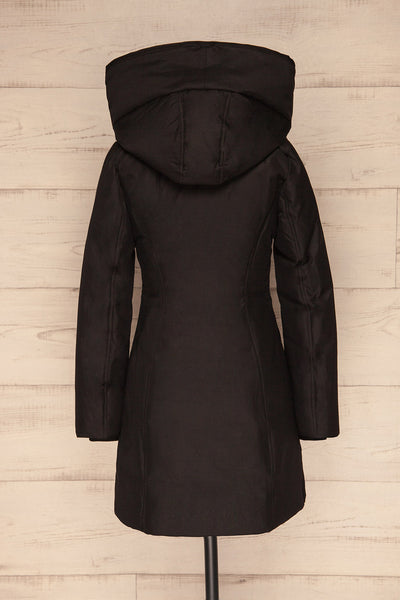 Camelia Black Quilted Soia&Kyo Parka with Hood back close up | La Petite Garçonne