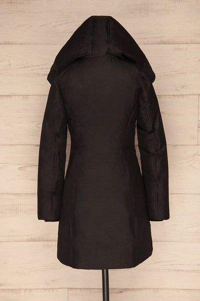 Camelia Black Quilted Soia&Kyo Parka with Hood back hood up | La Petite Garçonne