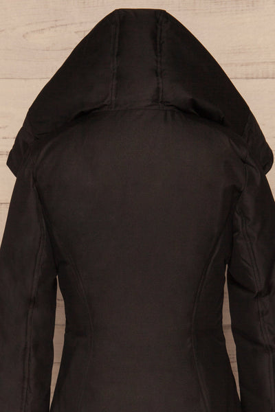 Camelia Black Quilted Soia&Kyo Parka with Hood back hood up close up | La Petite Garçonne