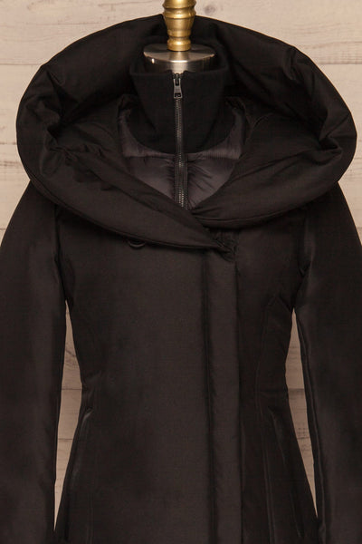 Camelia Black Quilted Soia&Kyo Parka with Hood front close up | La Petite Garçonne
