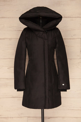 Camelia Black Quilted Soia&Kyo Parka with Hood front view hood up | La Petite Garçonne