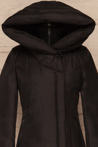 Camelia Black Quilted Soia&Kyo Parka with Hood front hood up close up | La Petite Garçonne