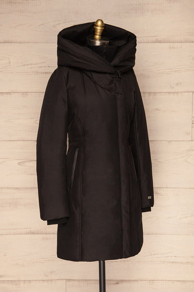 Camelia Black Quilted Soia&Kyo Parka with Hood side view | La Petite Garçonne