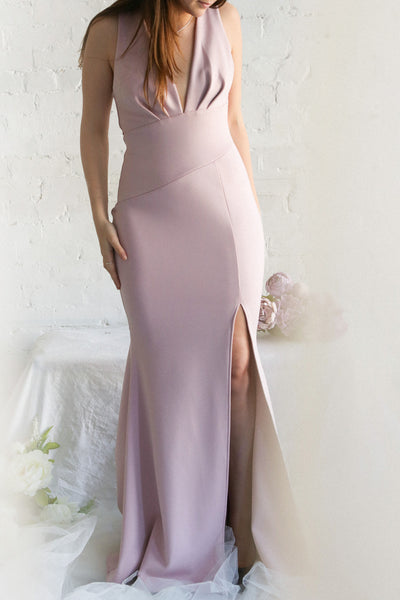 Camila Mauve Plunging Neckline Mermaid Gown | Boudoir 1861 on model
