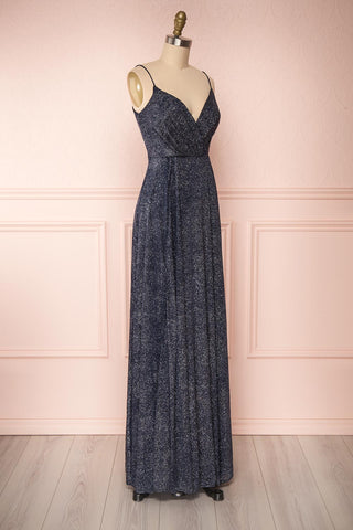 Campozano Navy Shimmery A-Line V-Neck Dress | Boutique 1861 side view