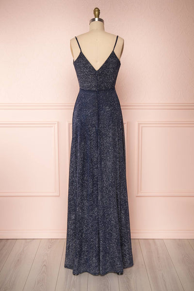 Campozano Navy Shimmery A-Line V-Neck Dress | Boutique 1861 back view