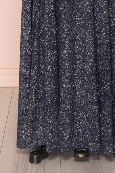 Campozano Navy Shimmery A-Line V-Neck Dress | Boutique 1861 bottom close-up