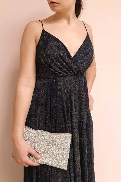 Campozano Navy Shimmery A-Line V-Neck Dress | Boutique 1861 model close up